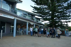 All four cafes can be considered Copacabana Attractions. Here we see the Cabana Cafe underneath the stately pine tree.