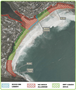 Map of Copacabana Beach showing pet friendly areas. These consitute a major Copacabana Attraction. The best area for whale watching is from the cliff at the northern end.