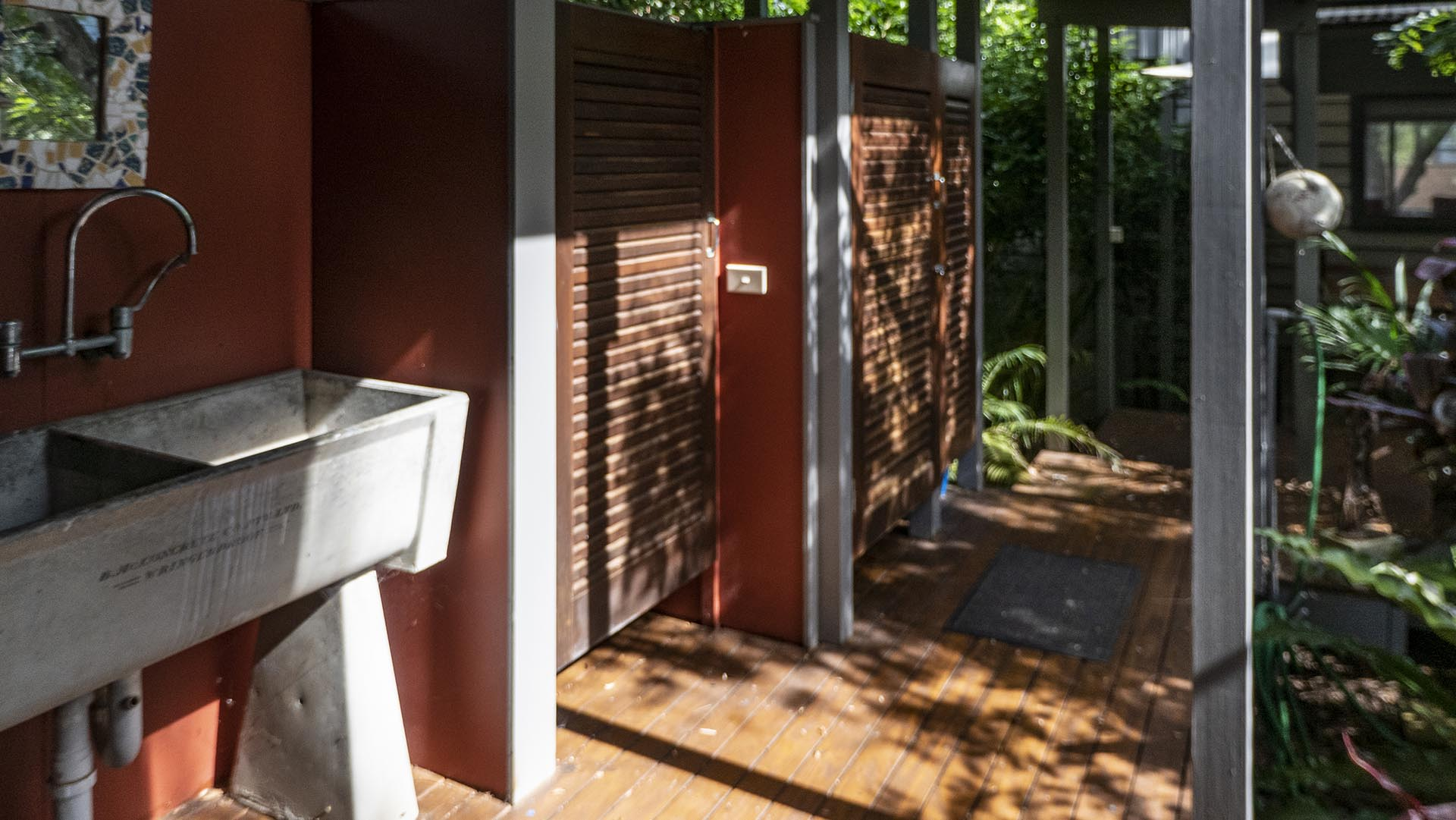 Private hot Shower leading off from Covered Walkway.. Copa Beachside.