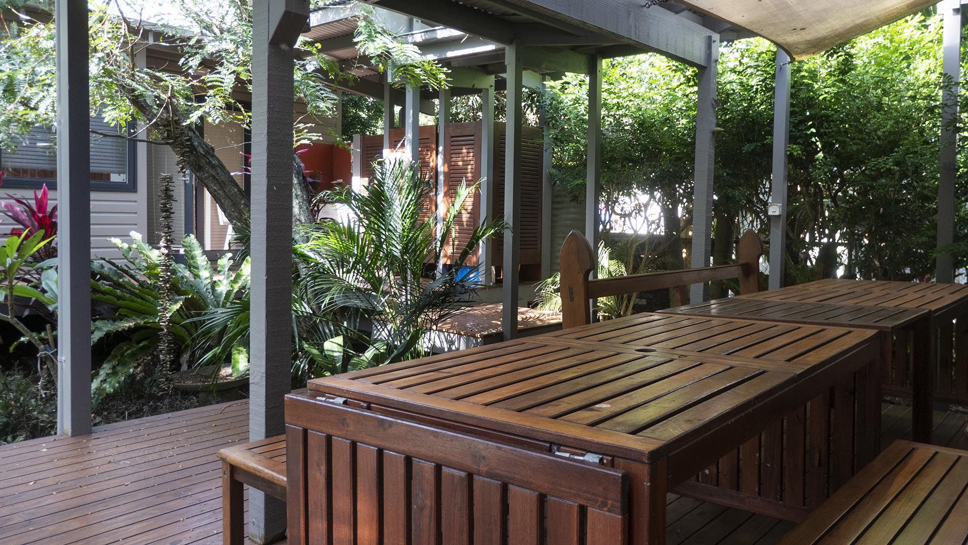 Large table on outdoor deck