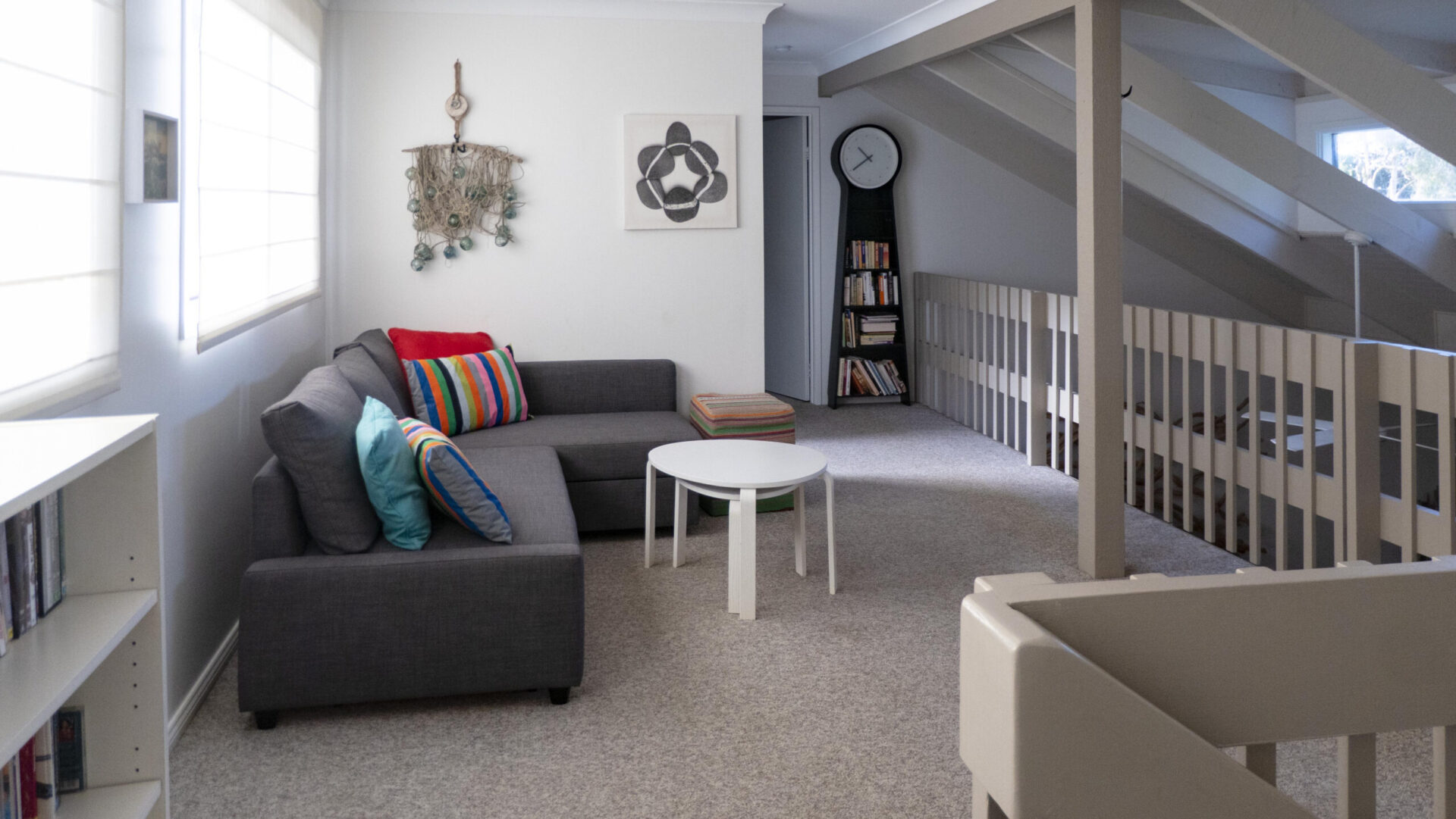 Rumpus Room Copa Beachside. Lounge rolls out into a double bed for emergency accommodation.
