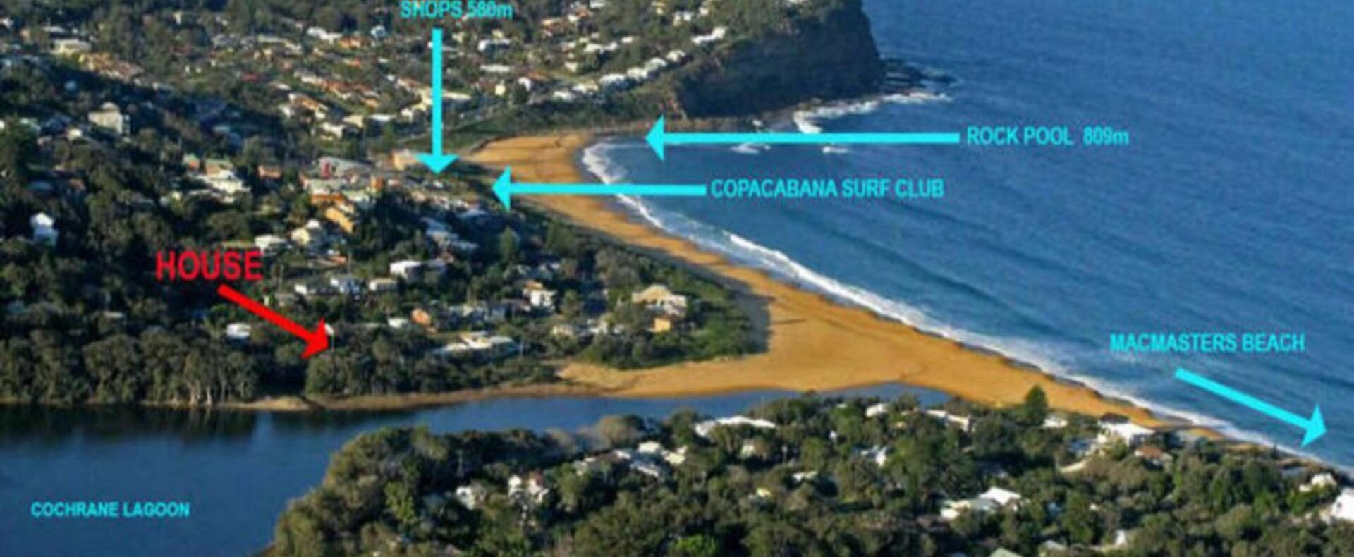 Position of Copa Beachside close to Lagoon and Beach.
